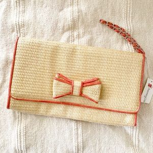 charming charlie large woven straw wristlet clutch